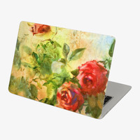Macbook Retro Vivid Red Rose Skin Decal Sticker. Art Decals By Moooh!!