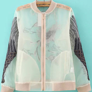 White Sheer Mesh Zip Up Wing Embroidered Varsity Jacket