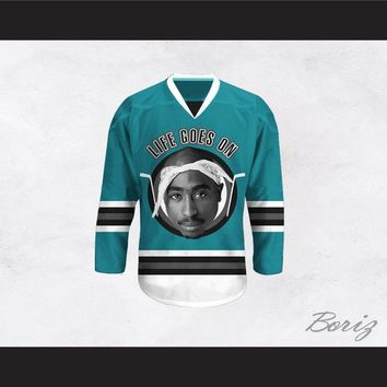 Tupac Shakur 6 Life Goes On Teal Hockey Jersey
