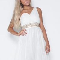 White One Shoulder Dress with Sequin Embellishment