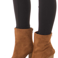 Tan Faux Suede High Heeled Bootie