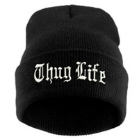 THUG LIFE Letter Embroidered Unisex Beanie Fashion 2pac Hip Hop Mens & Womens Knitted Black & White Tupac Cuffed Skully Hat