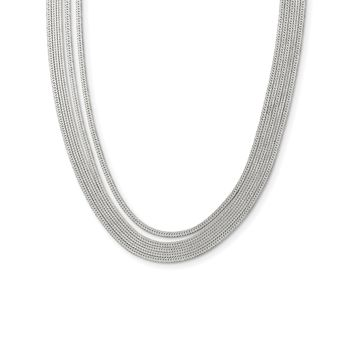 Sterling Silver 5-Strand Herringbone Chain w/2in ext Necklace QG3869
