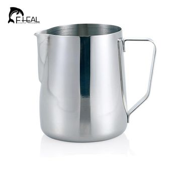 FHEAL 1pc 150/350/600/1000ml Stainless Steel Latte Jug Frothing Super Quality Espresso Pitcher For Kitchen Tools