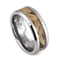 Camouflage Inlay men's tungsten ring