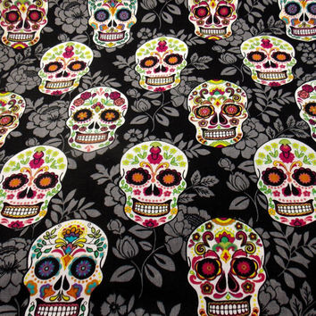 Sugar Skulls Mexican Fabric Day of the Dead Fabric Craft Fabric Quilt Fabric Curtain Fabric Pillow Fabric Cotton Fabric By the Yard Fabric