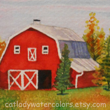 Original Fall Barn Landscape Watercolor Painting. Barn Painting. Country decor. Watercolor art. Fall trees. Autumn Landscape. Barn wall art.