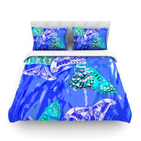"Vikki Salmela ""Butterflies Party Blues"" Fleece Duvet Cover"