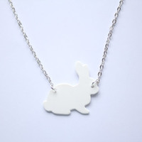 White Handmade Bunny Rabbit necklace, designed and carefully cut by hand- in black and pastel colours for spring  and easter time