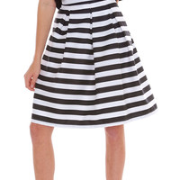 Get Into Lines Pleats Midi Skirt - Black/White Stripe