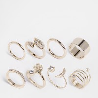 Lipsy Moon Pave Multipack Rings