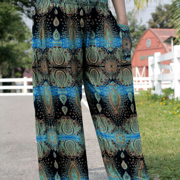 Blue and Dark mix flower pants Harem pants nightwear women in yoga pants christmas pajamas/ bohemin style/Aladdin Pants/boho pants/pyjamas