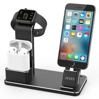 Apple Watch Charger, JESKY Apple Watch Stand Dock Airpods Accessories Aluminum iPhone Dock Charging Stand for Apple Watch Series 3/ 2/ 1,AirPods, iPad iPhone X 8 7 plus 6s