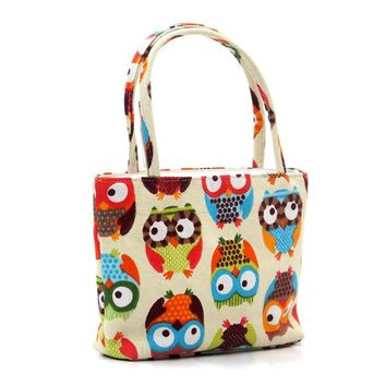 Owl Cosmetic Bag / Small Tote