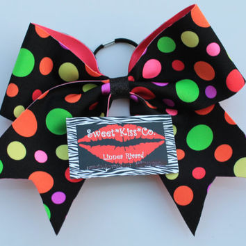 Polka Dots Cheerleading All Star Hairbow 3 inch Rhinestone Bling Expression Bow Cheer