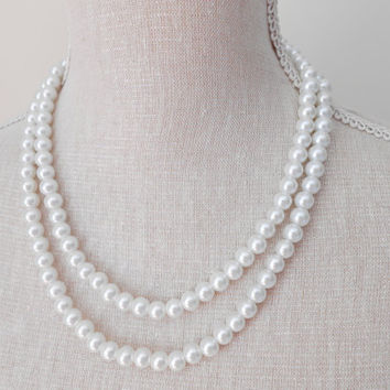 Two strand white glass pearl necklace unique for wedding, Bridesmaid Gifts, Mother of the Bride, Teacher, Bridal, Anniversary