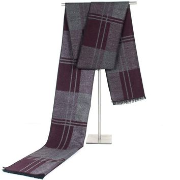 Business Warm Scarves Cashmere-like Plaid Neck Scarf Wine Red Winter Scarves Tassels Men's Scarf