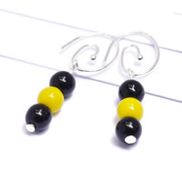 Black and Gold Drop Earrings - GameDay Glass Bead Dangling Earrings – Unique I Love Football Jewelry – Steelers, Pirates, Yellow Jackets