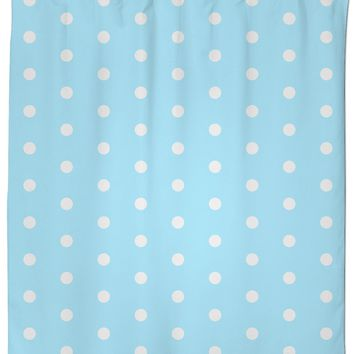 Pastel light blue and white polka dots pattern, classic, retro style shower curtain design