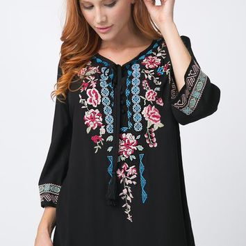 3/4 Bohemian Floral Embroidered Top (Small-3XL)