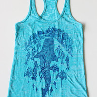 Atlantis tank top - Whale shark, Dolphins, Manta rays and Mermaid top - dark blue print on turquoise burnout- Ancient Cityscape tank top.