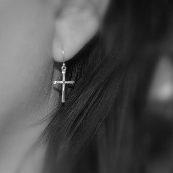 Silver cross earrings, sterling silver, silver dangle cross earrings, simple minimalist earrings, religious jewelry, christian jewelry
