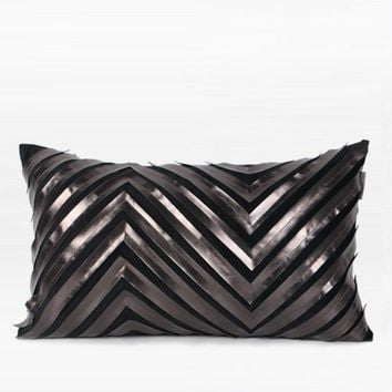 """Black Chevron Faux Leather Embroidered Pillow 12""""X20"""""""