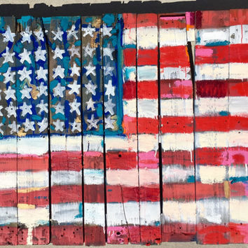 Large Pop Art Painting American Flag 48x44 Large Wall Decor Large Wall Art Reclaimed Wood Art Pallet Art Red White Blue Art Gift Ideas