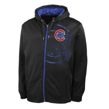 Chicago Cubs Majestic Bring It Home Full Zip Synthetic Hoodie – Navy Blue