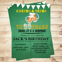 Cheers and beers to 30 years, Birthday invitation adult, printable invitation templates,  Adult party invitations, party invitation template