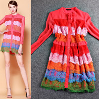 Bow Tie Button Loose Long Sleeve Lace  Layered Dress