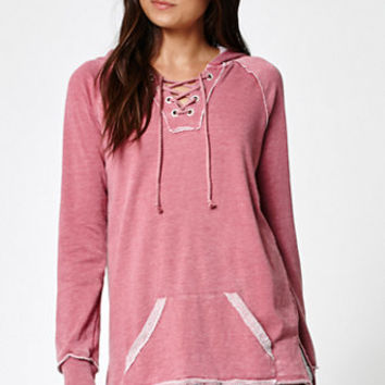 LA Hearts Burnout Wash French Terry Lace-Up Sweatshirt at PacSun.com