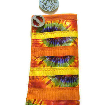 Eyeglass Case Orange/Yellow/ Retro Ribbons
