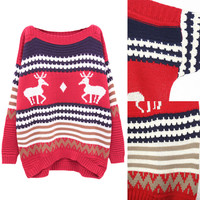 Christmas Deer and Geometric Print Oversized Pullover Knit Sweater