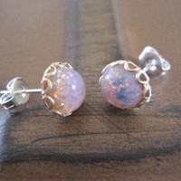 Fire Opal Stud Post- Round Glass Stainless Steel Earrings Tiny 7mm Pink Round