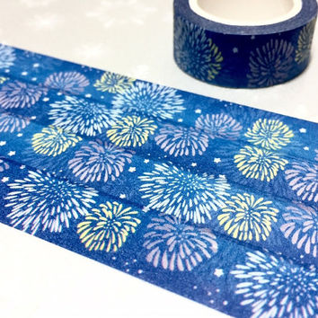 fireworks washi tape 7M fireworks night fireworks overlays firework celebration firework party decor sticker tape masking tape