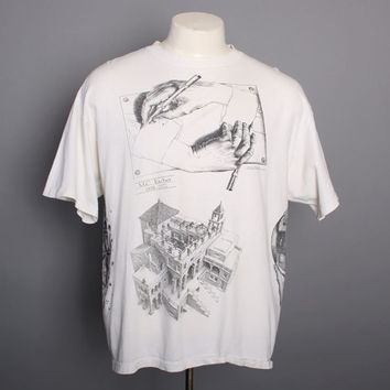 90s MC ESCHER Allover Print T-SHIRT / Multi Print Double Sided Arts Drawing Tee, xl