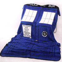 Doctor Who Cosplay TARDIS Blankets Coral Fleece Police Box Cosplay Carpet Throw Blankets Blue Bed Sheet 127*226cm Free Shipping