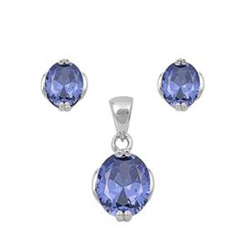Perfect Oval Cut Tanzanite Blue Earring and Necklace Set