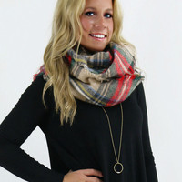 The Norfolk Tartan Plaid Knit Infinity Scarf With Frayed Hem