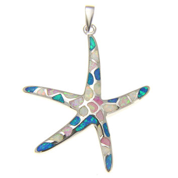 925 Silver Rhodium Hawaiian Starfish Sea Star Multi Blue White PInk Opal Pendant