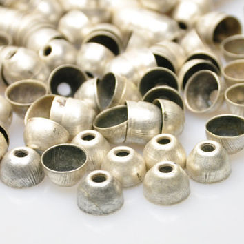 25 Pieces Silver Plated Jewelry End Bead Caps, Silver Jewelry Spacer Beads, Jewelry Findings