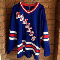 Vintage Rangers CCM Stitched Hockey Jersey Large Blue new york nhl