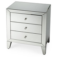 "Nightstand Gwidon Mirrored 24"", Acrylic / Lucite, Nightstands"