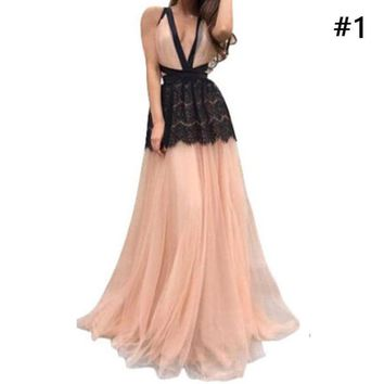 Backless Wedding Long Formal Evening Party Ballroom Finalists Cocktail Dress Maxi Dress Income Dress