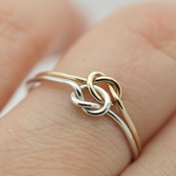 Double Knot 14K Gold plated & Sterling Silver stacking ring. Great friendship, love and bridesmaid gift. Free Worldwide Shipping