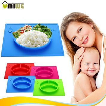 Baby Kids Children Tableware Meal Dinner Plates Dinnerware Integrated Sub-grid Silicone Food Dishes Plate Non-slip Placemat