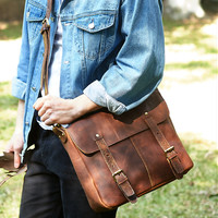 "Men's Handmade Vintage Leather Briefcase / Leather Satchel / 14"" MacBook 14"" Laptop Bag -  / Leather Messenger Bag m028"