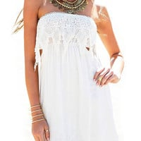 White Strapless Dress With Cut Out Waist