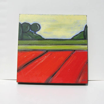 "Art Abstract Landscape Painting Modern Contemporary Artwork ""Green and Orange Fields"""
